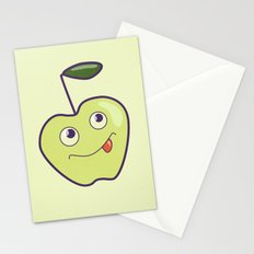 Smiling Green Cartoon Apple Stationery Cards