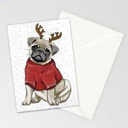 Reindeer Pug Stationery Cards
