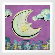 Moon - purple Art Print