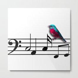 Bird on Music Sheet Metal Print
