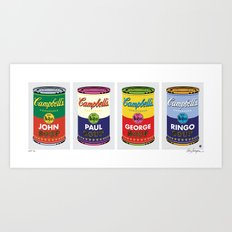 Horizontal Beatle Soup Cans Art Print