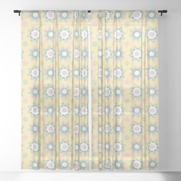 1950s Style Flower Polka Dots Seamless Pattern Sheer Curtain