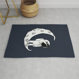 Little Spaceman on Crescent Moon Rug