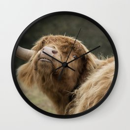 Funny Scottish Highland cow Wall Clock