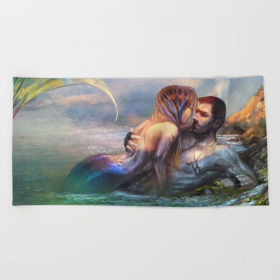 Take my breath away - Mermaid in love with soldier on the beach Beach Towel