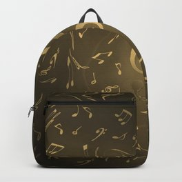 gold music notes swirl pattern Backpack