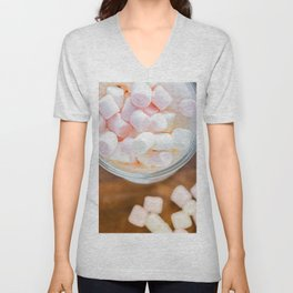 Top view to the  marshmallows in hot chocolate Unisex V-Neck