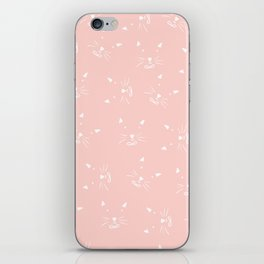 Cute girly hand drawn abstract cat face on pastel pink iPhone Skin
