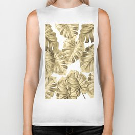 Gold Monstera Leaves on White 2 Biker Tank