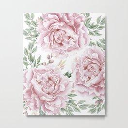Pretty Pink Roses Flower Garden Metal Print