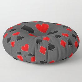 RED & BLACK PLAYING CARD  ART ON CHARCOAL GREY Floor Pillow