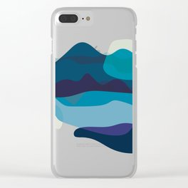 Abstract Mountains Landscape in Blue Clear iPhone Case