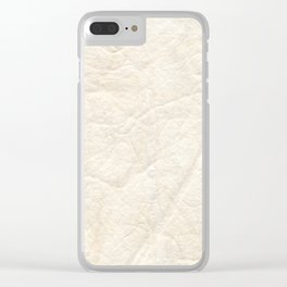 Cream White Textured Paper Threads Clear iPhone Case