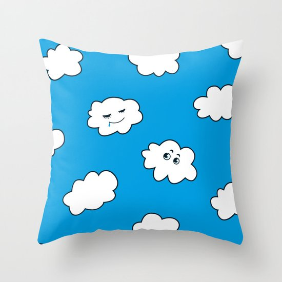Blue Sky Happy Funny Clouds Throw Pillow
