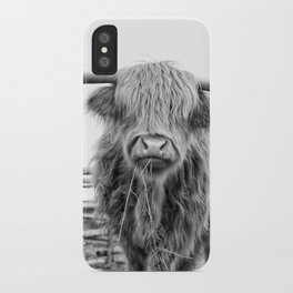Highland Cow in a Fence Black and White iPhone Case
