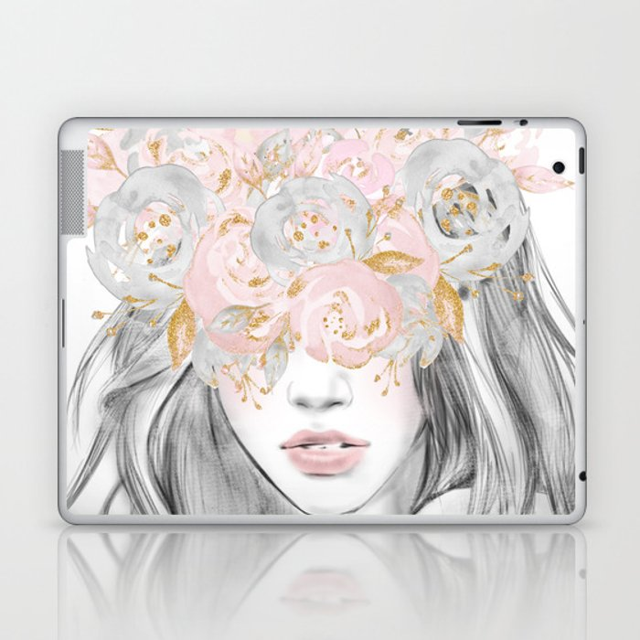 She Wore Flowers in Her Hair Rose Gold by Nature Magick Laptop & iPad Skin