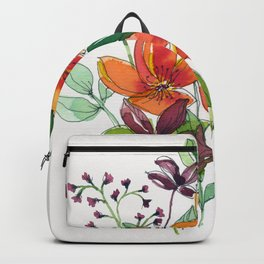 Orange and red wild flower Backpack