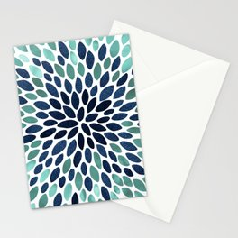 Flower Bloom, Aqua and Navy Stationery Cards