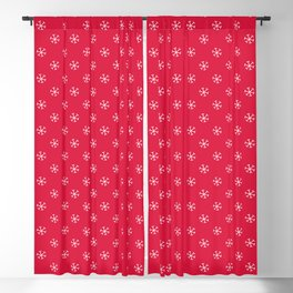 White on Crimson Red Snowflakes Blackout Curtain