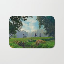 Cyclists On Country Road Bath Mat