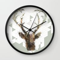 architect Wall Clocks featuring Deer Architect by Angelo Cerantola