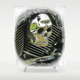 Motorcycle Skull Shower Curtain
