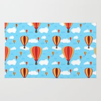 hot air balloons Area & Throw Rugs featuring Hot Air Balloons by velourvelvet