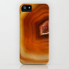 Orange Burnt Red Geode Raw Stone Crystal Agate Boho Hippie Fine Art  Print iPhone Case