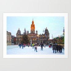 Ice Skating At Christmas  Art Print