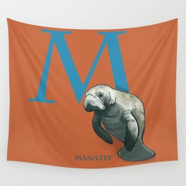 M is for Manatee: Under Appreciated Animals™ ABC nursery decor sea life red unusual animals Wall Tapestry