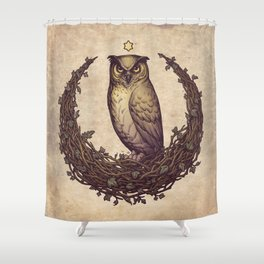 Owl Hedera Moon Shower Curtain