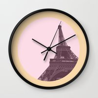 eiffel Wall Clocks featuring Eiffel by Michelle Wang