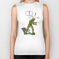 skateboard Biker Tanks featuring Soldier skateboard by Tony Vazquez