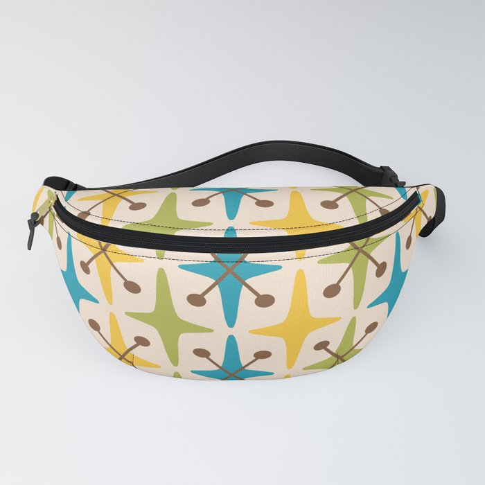 Mid Century Modern Abstract Star Pattern 441 Yellow Brown Turquoise Chartreuse Fanny Pack