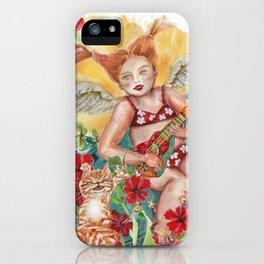 Ginger and Cherub Angel in the Summer-Playing Ukulele in the Sun iPhone Case