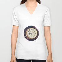 wall clock V-neck T-shirts featuring Old wall clock by Elisabeth Coelfen