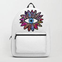 Greek Evil Eye Purple Flower Backpack