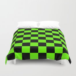 Checkered Pattern: Black & Slime Green Duvet Cover