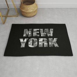 New York (black & white photo type on black) Rug