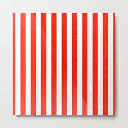 Fiesta Red Beach Hut Vertical Stripe Fall Fashion Metal Print