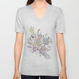 succulent watercolor 8 Unisex V-Neck