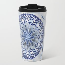 8 Koi Lotus Mandala in Blue Travel Mug