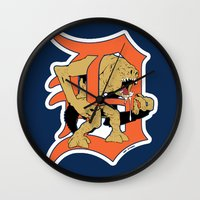 detroit Wall Clocks featuring Detroit Rancors by Ant Atomic