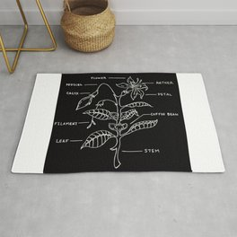 Coffee Plant Diagram Illustration Rug