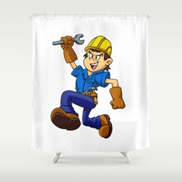 Running man with a wrench Shower Curtain