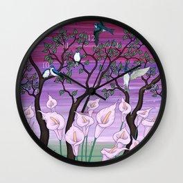calla lilies & tree swallows Wall Clock