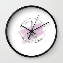 Paris in a hot air balloon on purple background . pastel color Wall Clock