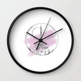 Paris city in a hot air balloon on purple background. Home decor, art prints Wall Clock