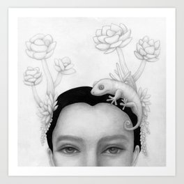 Chameleon Woman Art Print