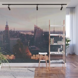 new york city skyline and couple-romance on the rooftop Wall Mural